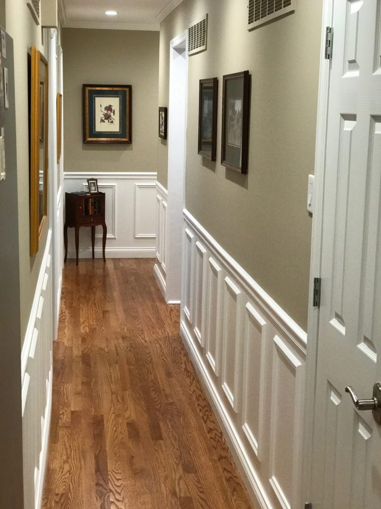 Painting contractor hallway, chair rail and can lights